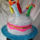 Party Cake with Candles Funny Hat Celebration Tinsil  Adult or Child Birthday