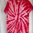 Candy Cane Tie Tye  Dye Shirt  Red  100% Cotton