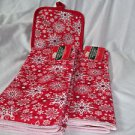 Holiday Towels Gift Decorations Kitchen Two Towels and Holder Red White Snow
