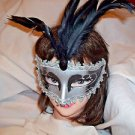 Mardi Gras Feather Mask Silver and Black   Satin Ribbon Black Stone Hand Painted