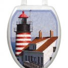 Toilet  Tattoos West Quoddy Lighthouse Vinyl Lid Cover Reusable Decoration