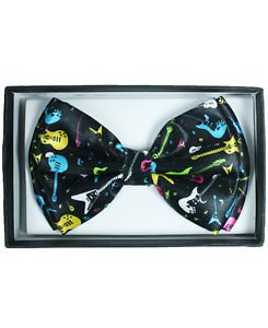 Bow Tie Guitar Music Multi Colored Polyester Clip and Hook Adjusts Gift Box