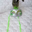 Mardi Gras Feather Mask Silver and Green Satin Ribbon Green Stone  Hand Painted