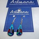 Mosaic Earrings Fair Trade Handmade Woman Inlaid Stones Mexico Handcast Silver