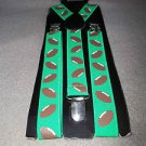 Football  Adjustable Suspenders Sports Fan New Footballs Green Clip On