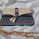 Cross Body Purse Cream & Aqua  Fringe Tassles Native Look Fabric Sophia Handbag