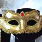Formal Gold Mask Venetian With Stick Jewels Gold Filigree Lined Elegant