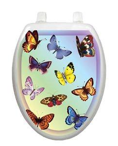 Toilet Tattoos Toilet Lid Cover  Decor Butterfly Dreams Blue Reusable Vinyl