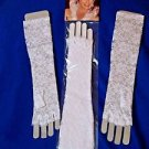 "Fingerless Gloves Lace White 15"" Long Bridal  Wedding Gloves  NEW Free Shipping"