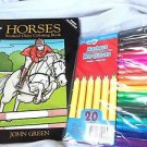 Coloring Book Dover Stained Glass Horses with Fine Markers