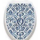 Toilet Tattoos Blue Damask Lid Cover  Decor  Reusable Vinyl 1130