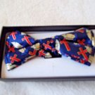 Christian Theme Bow Tie Blue and Red  Cross Praying Hands Clip Hook Gift Box