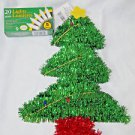 Christmas Tree and Lights Tinsel Green with Gold Star Window Hanger 15""