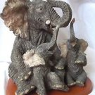 Elephant Decoration With Two Babies Floppy Ears Solid Material  on Base