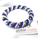 Fair Trade Hand Made Bangle  Bracelet  Blue White Multi Stretch   Kenya