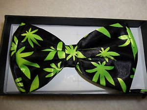 Bow Ties Happy Weed Bowtie Leaves Polyester in Gift Box Hook and Clip