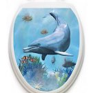 Toilet  Tattoos Dolphin Dream Ocean  Vinyl Lid Cover Decor Reusable Decoration