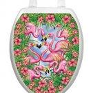 Toilet Tattoos Flamingo Fancy Vinyl Seat Lid Cover Decor Pink Birds 7307