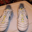 Soccer Shoes Nike Cleats Shoes  Soccer Size 5 White with Blue Aqua Logo