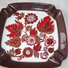 Norwegian Ceramic Ashtray Brown Edge Red Flowers  Square  H sign Collecible