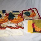 Rooster Towel Set  Kitchen Towels Holder and Cloth Bright  All Cotton