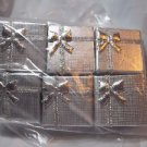 "Gift Boxes Ring Silver 1 1/2"" x 1 1/4"" Silver Bows  Four Box Lot"