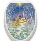 Toilet Tattoos Winter Church  Lid Cover  Decor  Reusable  Removable Vinyl 634