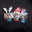 Cat  Brooch Kittens Fashion Jewelry  Three  Cats Silver Enameled Jeweled