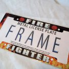Auto Fire Fighters Metal License Tag Frame 6 x 12 Red and Yellow and Black