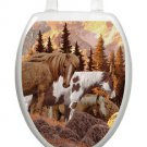 Toilet Tattoos Toilet Seat Lid Decor Wild Horses Lid Cover  Red Reusable