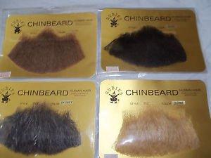 Goatee Chin Beard Human Hair #2022   Black  Blond  Dk Gray  Lt Brown Med Brown