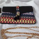 Cross Body Purse Black Orange Fringe Tassles Native Look Fabric Sophia Handbag