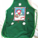 Christmas Apron Cotton  Hand Painted  Full Apron Green Snow-woman Cardinals