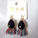 Fringe Fashion Earings Black Stone with Colored MetalGoldtone French Hook