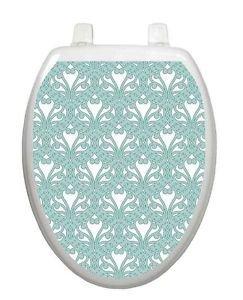 Toilet Tattoos Queen Anns Lace Aqua  Lid Cover  Decor  Reusable Vinyl 3001