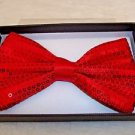 Bow Tie Red with Red  Sequin Hook and Clip Gift Boxed  Polyester
