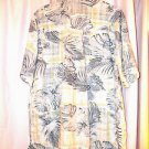 Centro Hawaiian Luau Cruise Shirt XL  Rayon Washable White Green Print