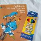 Complete  Bird Coloring Book and Good Pencils  Audubon Birds Stocking Stuffer