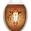 Toilet Tattoos Southwest Cow Skull Brown Bathroom Lid   Vinyl Reusable