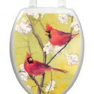 Toilet Tattoos Toilet Lid Bird Decor Cardinals  Lid Cover  Red Vinyl Reusable