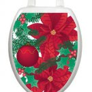 Toilet Tattoos Lid Decor Poinsettia Red Vinyl Removable Decoration