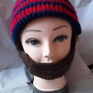 Men's Winter Knitted Ski Face Mask Knit Beard Moustache Hat Cap Warmer Red Blue
