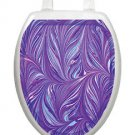 Toilet Tattoos Toilet Seat Lid Decor Purple Plumes Bathroom Decor Elegant Vinyl