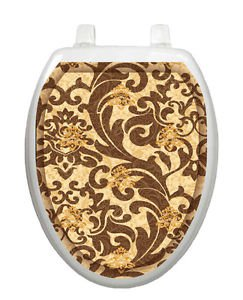 Toilet Tattoo Tuscany Filigree Brown Lid Decor Vinyl Reusable