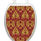 Toilet Tattoos Roccoco Red and Gold Seat Cover Vinyl Elegant