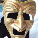 Mask Decorative Tragedy Theater Gold Polyester  Decorated  For Face or Decor