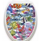 Toilet Tattoos Sealife  Galore  Lid Cover  Decor Silver Reusable Vinyl 1119