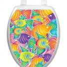 Toilet Tattoos Toilet Lid Decor Fish Frenzy  Bathroom Reusable Yellow & Purple
