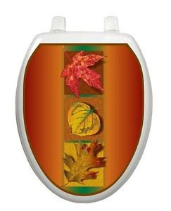 Toilet Tattoos Toilet  Lid  Decor Autumn Leaves Seasonal  L300 Removable Vinyl