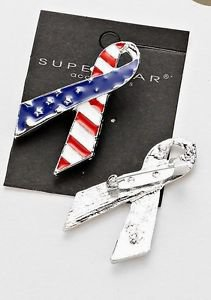Brooch American Patriotic USA Flag  Lapel Pin  Red White and Blue Metal Tie USA